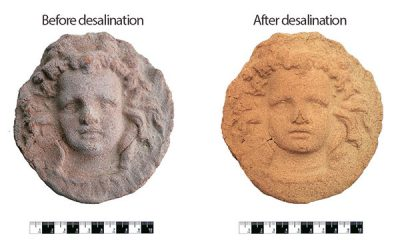 Desalination of ancient artefacts