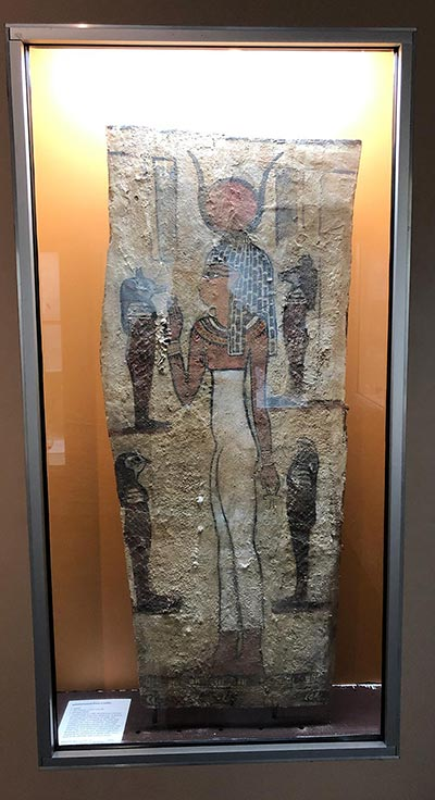 Egyptian Coffin Panel on display
