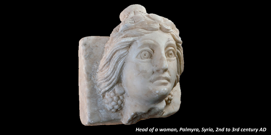 MARBLE HEAD OF WOMAN WITH EARRINGS