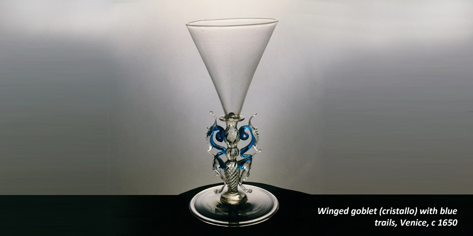 WINGED GOBLET WITH BLUE TRAILS VENICE