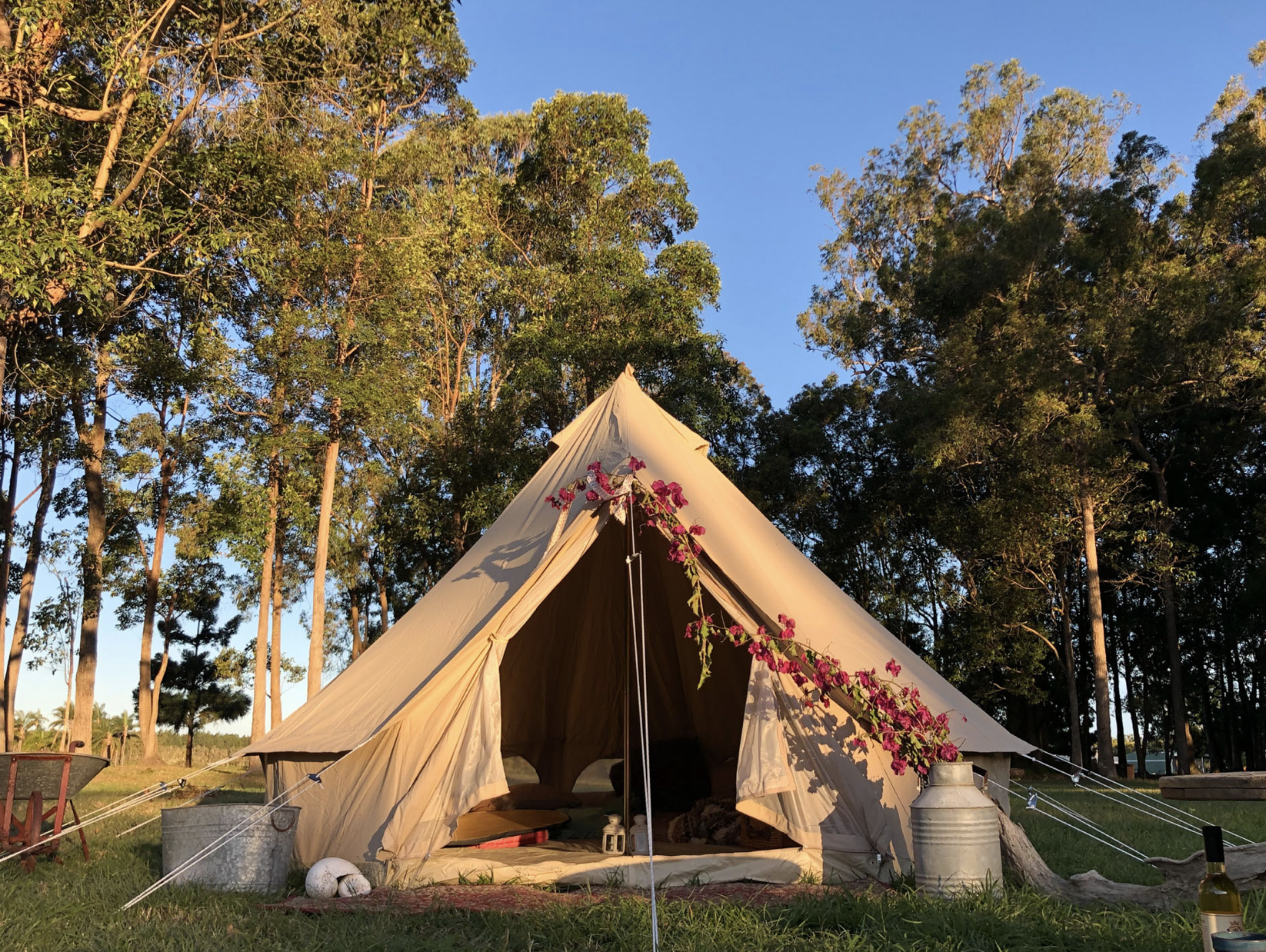 Bell Tent from Psyclone Tents. (Part of Abbey Museum's Camping Through the Ages 2020 Raffle)